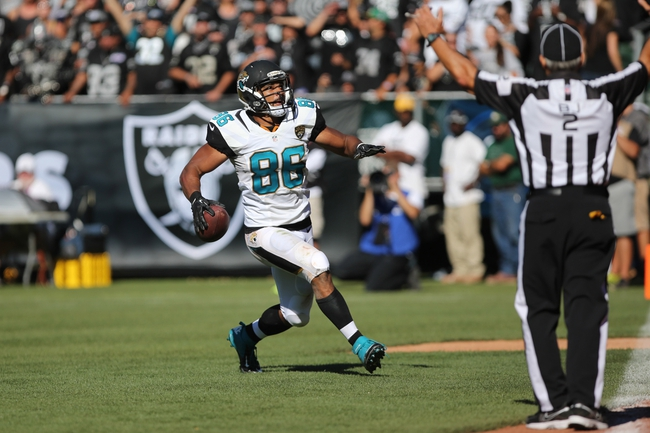 Sep 15, 2013; Oakland, CA, USA; Jacksonville Jaguars tight end Clay Harbor (86) celebrates after a touchdown reception against the Oakland Raiders during the fourth quarter at O.co Coliseum. The Oakland Raiders defeated the Jacksonville Jaguars 19-9. Mandatory Credit: Kelley L Cox-USA TODAY Sports