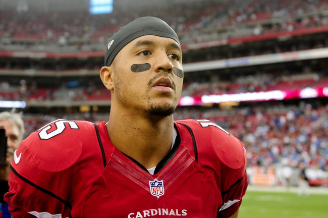 Sep 15, 2013; Phoenix, AZ, USA; Arizona Cardinals wide receiver Michael Floyd (15) looks on after beating the Detroit Lions 25-21 at University of Phoenix Stadium. Mandatory Credit: Matt Kartozian-USA TODAY Sports