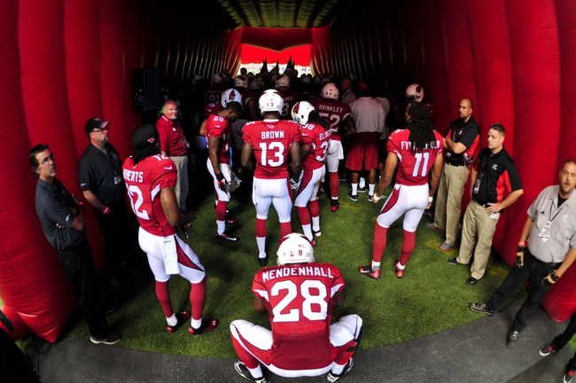 Sep 15, 2013; Phoenix, AZ, USA; Arizona Cardinals running back Rashard Mendenhall (28) and teammates wait to take the field prior to the game against the Detroit Lions at University of Phoenix Stadium. Mandatory Credit: Matt Kartozian-USA TODAY Sports