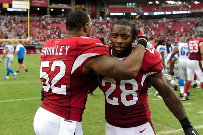 Sep 15, 2013; Phoenix, AZ, USA; Arizona Cardinals running back Rashard Mendenhall (28) and inside linebacker Jasper Brinkley (52) celebrate after beating the Detroit Lions 25-21  at University of Phoenix Stadium. Mandatory Credit: Matt Kartozian-USA TODAY Sports