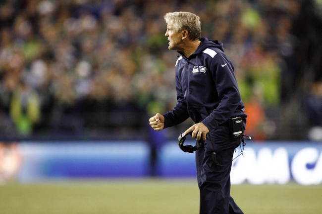 Sep 15, 2013; Seattle, WA, USA; Seattle Seahawks head coach Pete Carroll reacts to a play by his team against the San Francisco 49ers during the second quarter at CenturyLink Field. Mandatory Credit: Joe Nicholson-USA TODAY Sports