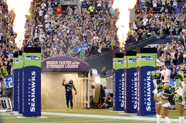 Sep 15, 2013; Seattle, WA, USA; Seattle Seahawks running back Marshawn Lynch (24) enters the field prior to the game against the San Francisco 49ers at CenturyLink Field. Seattle defeated San Francisco 29-3. Mandatory Credit: Steven Bisig-USA TODAY Sports