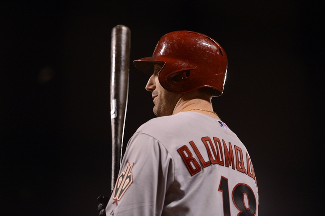 September 5, 2013; San Francisco, CA, USA; Arizona Diamondbacks shortstop Willie Bloomquist (18) stands on deck during the ninth inning against the San Francisco Giants at AT&T Park. The Diamondbacks defeated the Giants 4-2. Mandatory Credit: Kyle Terada-USA TODAY Sports