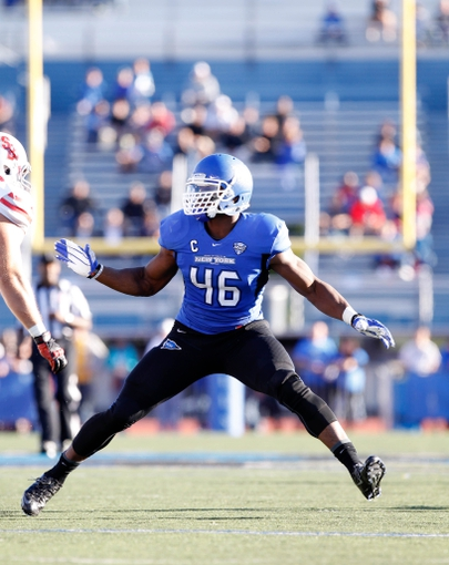 Sep 14, 2013; Buffalo, NY, USA; Buffalo Bulls linebacker Khalil Mack (46) during the game against the Stony Brook Seawolves at University of Buffalo Stadium. Buffalo beats Stony Brook 26-23 in OT. Mandatory Credit: Kevin Hoffman-USA TODAY Sports