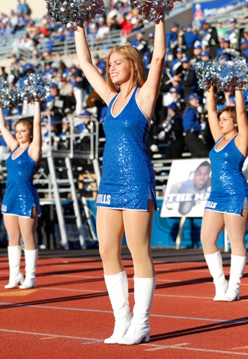 Sep 14, 2013; Buffalo, NY, USA; Buffalo Bulls cheerleaders perform during the game against the Stony Brook Seawolves at University of Buffalo Stadium. Buffalo beats Stony Brook 26-23 in OT. Mandatory Credit: Kevin Hoffman-USA TODAY Sports