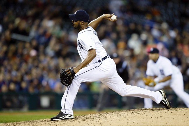Sep 16, 2013; Detroit, MI, USA; Detroit Tigers relief pitcher Jose Veras (31) pitches in the eighth inning against the Seattle Mariners at Comerica Park. Mandatory Credit: Rick Osentoski-USA TODAY Sports