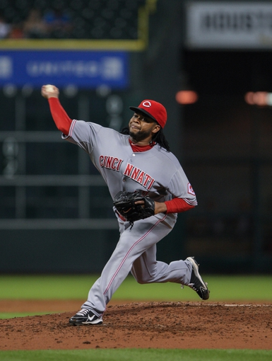 Sep 16, 2013; Houston, TX, USA; Cincinnati Reds starting pitcher Johnny Cueto (47) pitches during the fourth inning against the Houston Astros at Minute Maid Park. Mandatory Credit: Troy Taormina-USA TODAY Sports