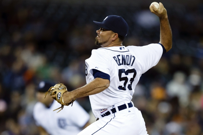 Sep 16, 2013; Detroit, MI, USA; Detroit Tigers relief pitcher Joaquin Benoit (53) pitches in the ninth inning against the Seattle Mariners at Comerica Park. Detroit won 4-2. Mandatory Credit: Rick Osentoski-USA TODAY Sports