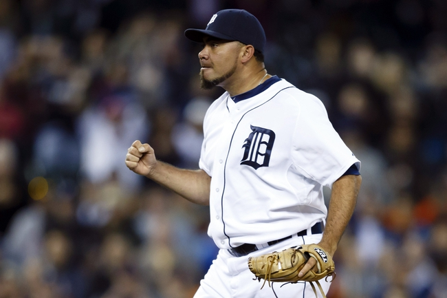Sep 16, 2013; Detroit, MI, USA; Detroit Tigers relief pitcher Joaquin Benoit (53) pumps his first after the last out against the Seattle Mariners at Comerica Park. Detroit won 4-2. Mandatory Credit: Rick Osentoski-USA TODAY Sports