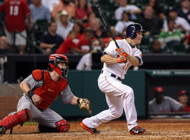 Sep 16, 2013; Houston, TX, USA; Houston Astros right fielder Trevor Crowe (8) gets a double during the sixth inning against the Cincinnati Reds at Minute Maid Park. Mandatory Credit: Troy Taormina-USA TODAY Sports