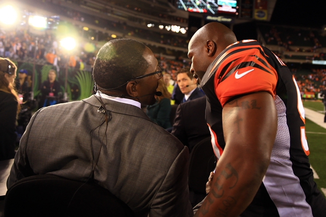 Sep 16, 2013; Cincinnati, OH, USA; ESPN television analyst Ray Lewis (left) talks with Cincinnati Bengals outside linebacker James Harrison (92) following the 20-10 win over Pittsburgh Steelers at Paul Brown Stadium. Mandatory Credit: Andrew Weber-USA TODAY Sports