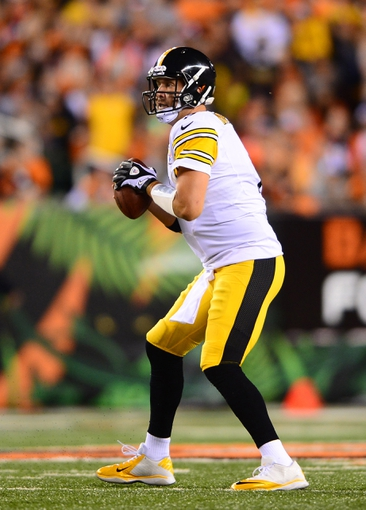 Sep 16, 2013; Cincinnati, OH, USA; Pittsburgh Steelers quarterback Ben Roethlisberger (7) drops back to pass during the fourth quarter against the Cincinnati Bengals at Paul Brown Stadium. Mandatory Credit: Andrew Weber-USA TODAY Sports