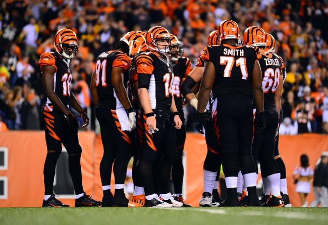 Sep 16, 2013; Cincinnati, OH, USA;  Cincinnati Bengals quarterback Andy Dalton (14) looks to the sidelines in the huddle during the fourth quarter against the Pittsburgh Steelers at Paul Brown Stadium. Mandatory Credit: Andrew Weber-USA TODAY Sports
