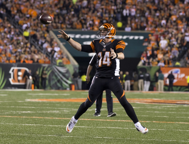 Sep 16, 2013; Cincinnati, OH, USA; Cincinnati Bengals quarterback Andy Dalton (14) throws a pass in the game against the Pittsburgh Steelers at Paul Brown Stadium. Cincinnati won the game 20-10. Mandatory Credit: Greg Bartram-USA TODAY Sports