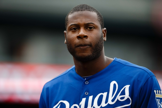 Sep 15, 2013; Detroit, MI, USA; Kansas City Royals right fielder Lorenzo Cain (6) walks back to the dugout after flying out in the seventh inning against the Detroit Tigers at Comerica Park. Mandatory Credit: Rick Osentoski-USA TODAY Sports