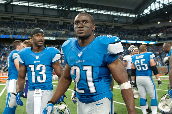 Sep 8, 2013; Detroit, MI, USA;  Detroit Lions running back Reggie Bush (21) after the game against the Minnesota Vikings at Ford Field. Detroit won 34-24. Mandatory Credit: Tim Fuller-USA TODAY Sports