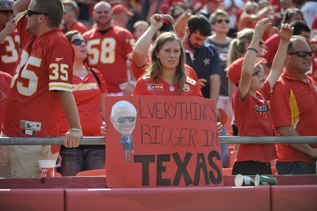 Sep 15, 2013; Kansas City, MO, USA; A Dallas Cowboys fan shows her support after the game against the Kansas City Chiefs at Arrowhead Stadium. The Chiefs won 17-16. Mandatory Credit: Denny Medley-USA TODAY Sports
