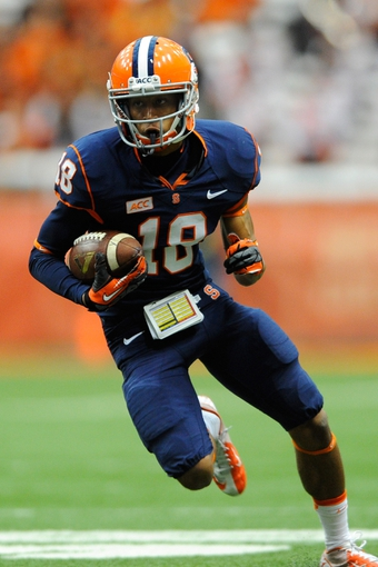 Sep 14, 2013; Syracuse, NY, USA; Syracuse Orange wide receiver Christopher Clark (18) runs with the ball after a catch during the third quarter against the Wagner Seahawks at the Carrier Dome.  Syracuse defeated Wagner 54-0.  Mandatory Credit: Rich Barnes-USA TODAY Sports