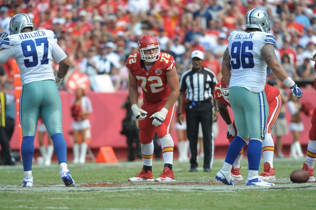 Sep 15, 2013; Kansas City, MO, USA; Kansas City Chiefs offensive tackle Eric Fisher (72) on the line of scrimmage during the second half of the game against the Dallas Cowboys at Arrowhead Stadium. The Chiefs won 17-16. Mandatory Credit: Denny Medley-USA TODAY Sports