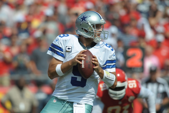 Sep 15, 2013; Kansas City, MO, USA; Dallas Cowboys quarterback Tony Romo (9) drops back to pass during the second half of the game against the Kansas City Chiefs at Arrowhead Stadium. The Chiefs won 17-16. Mandatory Credit: Denny Medley-USA TODAY Sports