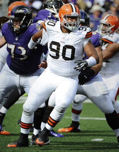 Sep 15, 2013; Baltimore, MD, USA; Cleveland Browns defensive lineman Billy Winn (90) in action against the Baltimore Ravens during the second half at M&T Bank Stadium. The Ravens won 14 - 6. Mandatory Credit: Brad Mills-USA TODAY Sports