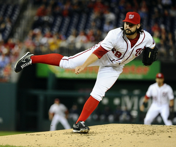 Sep 17, 2013; Washington, DC, USA; Washington Nationals pitcher Tanner Roark (59) throws during the second inning against the Atlanta Braves at Nationals Park. Mandatory Credit: Brad Mills-USA TODAY Sports
