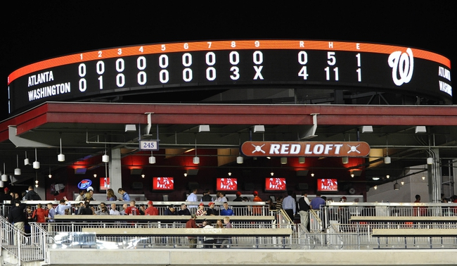 Sep 17, 2013; Washington, DC, USA; A view of the scoreboard following the Washington Nationals and Atlanta Braves game at Nationals Park. The Nationals won 4-0. Mandatory Credit: Brad Mills-USA TODAY Sports