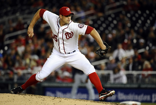 Sep 17, 2013; Washington, DC, USA; Washington Nationals relief pitcher Craig Stammen (35) throws against the Atlanta Braves during the eighth inning at Nationals Park. The Nationals won 4 - 0. Mandatory Credit: Brad Mills-USA TODAY Sports