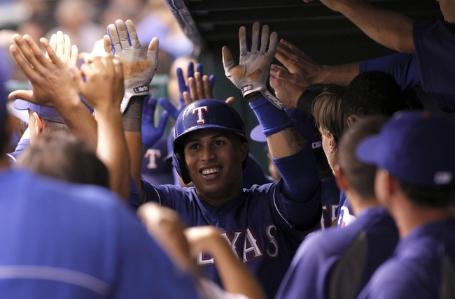 Sep 17, 2013; St. Petersburg, FL, USA; Texas Rangers center fielder Leonys Martin (2) is congratulated by teammates in the dugout after he scored during the fifth inning against the Tampa Bay Rays at Tropicana Field. Texas Rangers defeated the Tampa Bay Rays 7-1. Mandatory Credit: Kim Klement-USA TODAY Sports