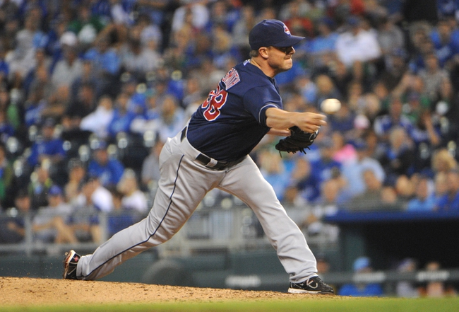 Sep 17, 2013; Kansas City, MO, USA; Cleveland Indians relief pitcher Joe Smith (38) delivers a pitch in the ninth inning against the Kansas City Royals at Kauffman Stadium. The Indians won 5-3. Mandatory Credit: John Rieger-USA TODAY Sports