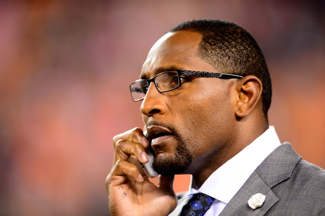 Sep 16, 2013; Cincinnati, OH, USA; ESPN analyst Ray Lewis against the Pittsburgh Steelers at Paul Brown Stadium. Mandatory Credit: Andrew Weber-USA TODAY Sports