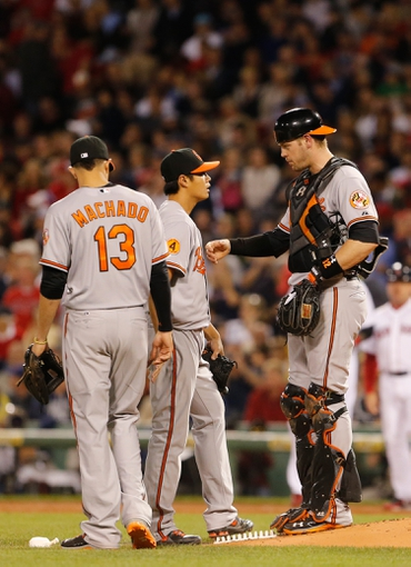 Sep 18, 2013; Boston, MA, USA; Baltimore Orioles catcher Matt Wieters (32) checks with starting pitcher Wei-Yin Chen (16) as they take on the Boston Red Sox in the third inning at Fenway Park. Mandatory Credit: David Butler II-USA TODAY Sports