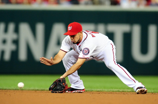 Sep 18, 2013; Washington, DC, USA; Washington Nationals second baseman Anthony Rendon (6) fields a ground ball during the game against the Atlanta Braves at Nationals Park. Mandatory Credit: Evan Habeeb-USA TODAY Sports