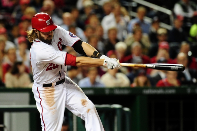 Sep 18, 2013; Washington, DC, USA; Washington Nationals outfielder Jayson Werth (28) singles in the third inning against the Atlanta Braves at Nationals Park. Mandatory Credit: Evan Habeeb-USA TODAY Sports