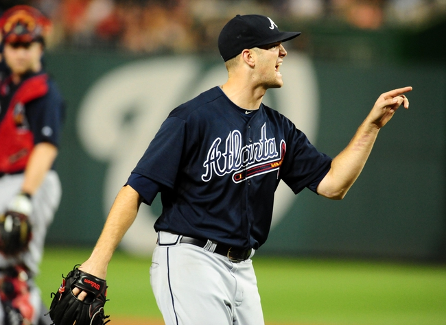 Sep 18, 2013; Washington, DC, USA; Atlanta Braves pitcher Alex Wood (58) yells at home plate umpire CB Buckner (not pictured) after coming out of the game in the fifth inning against the Washington Nationals at Nationals Park. Mandatory Credit: Evan Habeeb-USA TODAY Sports