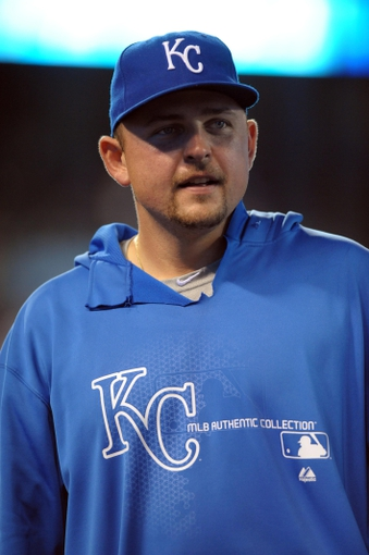 Sep 18, 2013; Kansas City, MO, USA; Kansas City Royals designated hitter Billy Butler (16) talks to media after the game against the Cleveland Indians at Kauffman Stadium. The Royals won 7-2. Mandatory Credit: Denny Medley-USA TODAY Sports