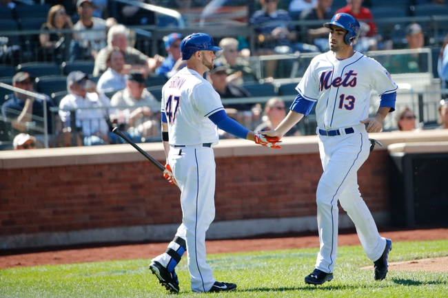 Sep 19, 2013; New York, NY, USA;  New York Mets right fielder Andrew Brown (47) congratulates first baseman Josh Satin (13) on scoring during the fourth inning against the San Francisco Giants at Citi Field. Mandatory Credit: Anthony Gruppuso-USA TODAY Sports