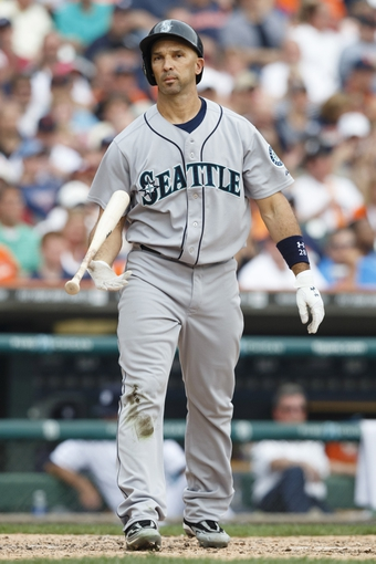 Sep 18, 2013; Detroit, MI, USA; Seattle Mariners left fielder Raul Ibanez (28) reacts after he strikes out in the fifth inning against the Detroit Tigers at Comerica Park. Mandatory Credit: Rick Osentoski-USA TODAY Sports