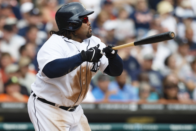 Sep 18, 2013; Detroit, MI, USA; Detroit Tigers first baseman Prince Fielder (28) hits an RBI single in the seventh inning against the Seattle Mariners at Comerica Park. Mandatory Credit: Rick Osentoski-USA TODAY Sports