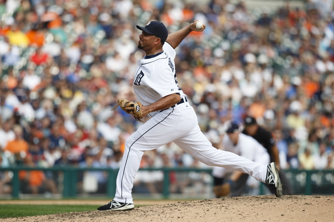 Sep 18, 2013; Detroit, MI, USA; Detroit Tigers relief pitcher Joaquin Benoit (53) pitches in the ninth inning against the Seattle Mariners at Comerica Park. Detroit won 5-4. Mandatory Credit: Rick Osentoski-USA TODAY Sports