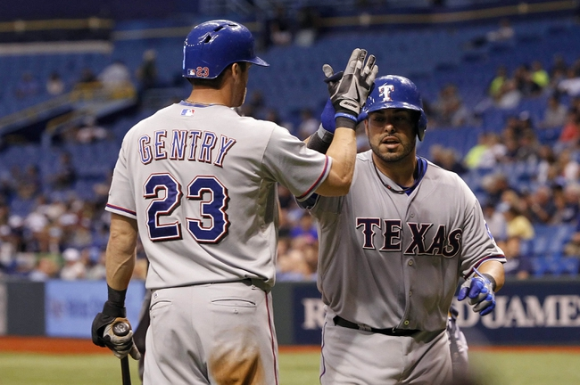 Sep 19, 2013; St. Petersburg, FL, USA; Texas Rangers catcher Geovany Soto (8) is congratulated by center fielder Craig Gentry (23) after he hit a solo home run during the ninth inning against the Tampa Bay Rays at Tropicana Field. Texas Rangers defeated the Tampa Bay Rays 8-2. Mandatory Credit: Kim Klement-USA TODAY Sports