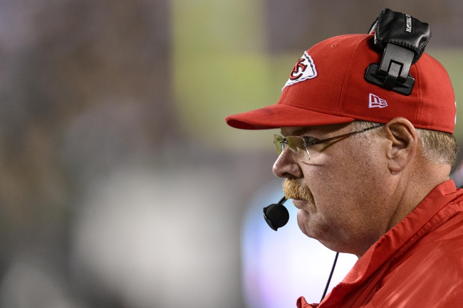 Sep 19, 2013; Philadelphia, PA, USA; Kansas City Chiefs head coach Andy Reid along the sidelines during the fourth quarter against the Philadelphia Eagles at Lincoln Financial Field. The Chiefs defeated the Eagles 26-16. Mandatory Credit: Howard Smith-USA TODAY Sports