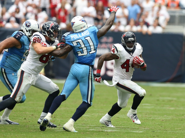 Sep 15, 2013; Houston, TX, USA; Houston Texans running back BenTate (44) runs with the ball against the Tennessee Titans at Reliant Stadium. Mandatory Credit: Matthew Emmons-USA TODAY Sports