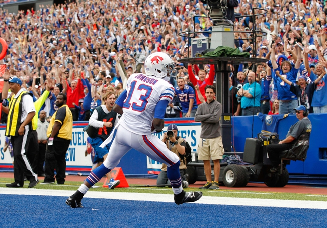 Sep 15, 2013; Orchard Park, NY, USA; Buffalo Bills wide receiver Steve Johnson (13) after catching a touchdown during the game against the Carolina Panthers at Ralph Wilson Stadium. Mandatory Credit: Kevin Hoffman-USA TODAY Sports