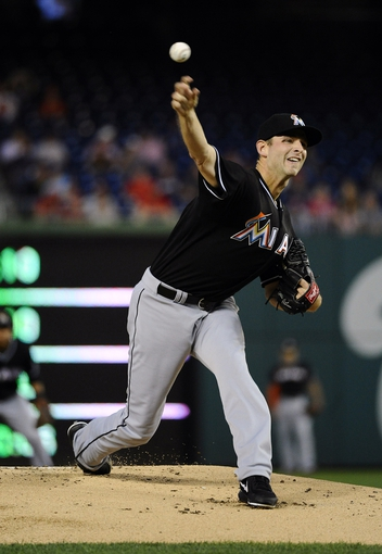 Sep 20, 2013; Washington, DC, USA; Miami Marlins starting pitcher Jocob Turner (33) throws during the first inning against the Washington Nationals at Nationals Park. Mandatory Credit: Brad Mills-USA TODAY Sports