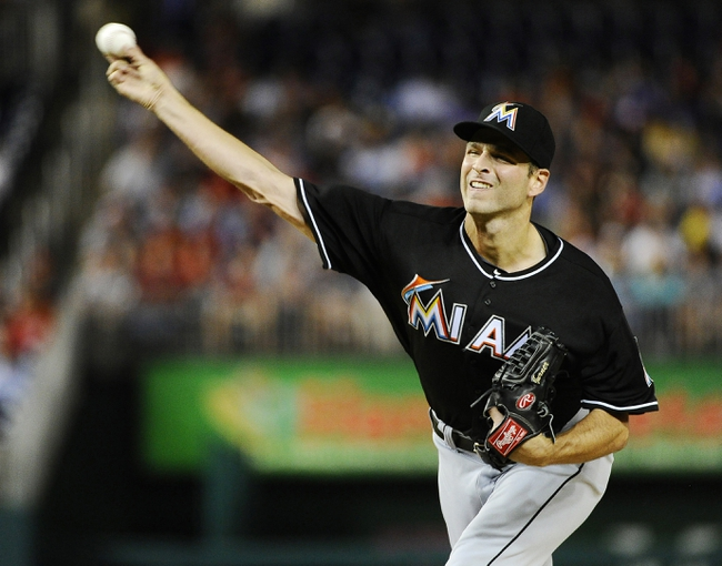 Sep 20, 2013; Washington, DC, USA; Miami Marlins starting pitcher Jocob Turner (33) throws during the second inning against the Washington Nationals at Nationals Park. Mandatory Credit: Brad Mills-USA TODAY Sports