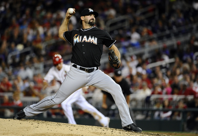 Sep 20, 2013; Washington, DC, USA; Miami Marlins relief pitcher Chris Hatcher (39) throws during the sixth inning against the Washington Nationals at Nationals Park. Mandatory Credit: Brad Mills-USA TODAY Sports