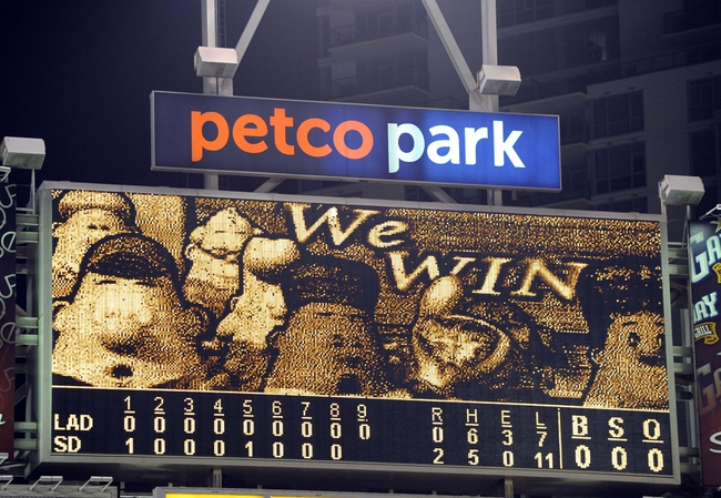 Sep 20, 2013; San Diego, CA, USA; General view of the scoreboard after a 2-0 win by the San Diego Padres against the Los Angeles Dodgers at Petco Park. Mandatory Credit: Christopher Hanewinckel-USA TODAY Sports