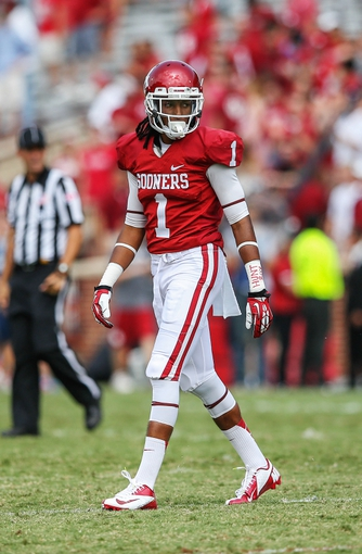 Sep 14, 2013; Norman, OK, USA; Oklahoma Sooners defensive back L.J. Moore (1) during the game against the Tulsa Golden Hurricane at Gaylord Family - Oklahoma Memorial Stadium. Oklahoma won 51-20. Mandatory Credit: Kevin Jairaj-USA TODAY Sports