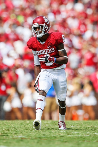 Sep 14, 2013; Norman, OK, USA; Oklahoma Sooners wide receiver Jalen Saunders (8) during the game against the Tulsa Golden Hurricane at Gaylord Family - Oklahoma Memorial Stadium. Oklahoma won 51-20. Mandatory Credit: Kevin Jairaj-USA TODAY Sports